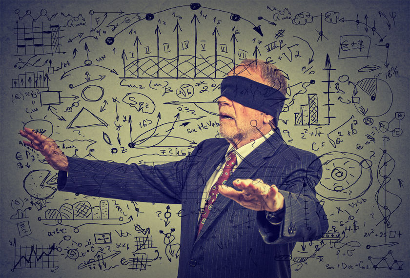blindfolded elderly senior business man going through social media data